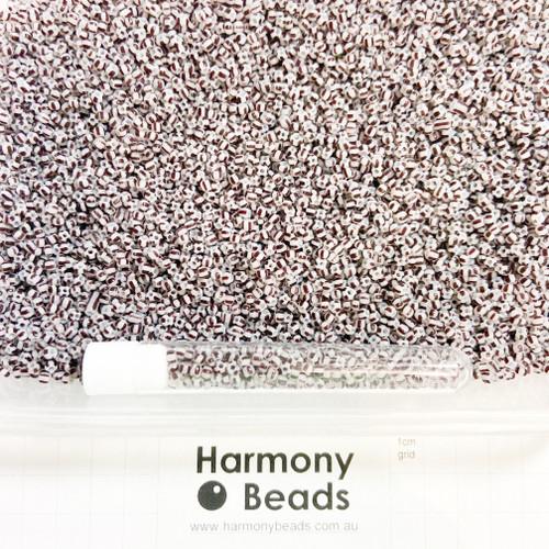 STRIPED Glass Seed Beads 8/0 Dark Brown & Light Grey Striped