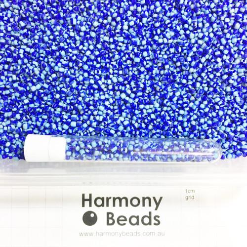 STRIPED Glass Seed Beads 8/0 Sky Blue & Blue Striped