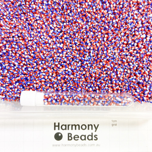 """STRIPED Glass Seed Beads 8/0 """"Tricolore"""" Blue White Red Striped Flag Seed Beads National Seed Beads Team Seed Beads Australian Union Jack United Kingdom UK French France America United States USA Russian Russia Seed Beads"""