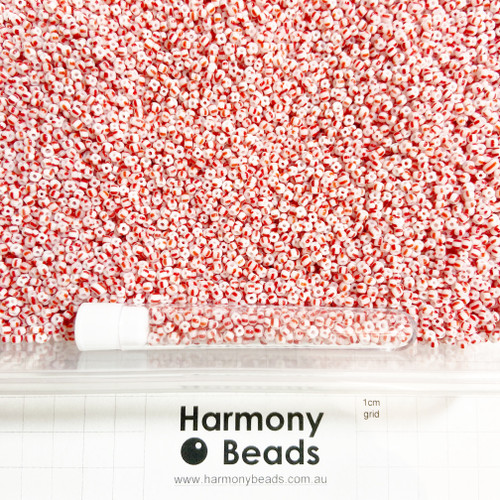 STRIPED Glass Seed Beads 8/0 Red & White Striped