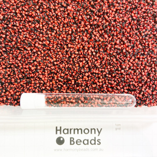 STRIPED Glass Seed Beads 8/0 Red & Black Striped