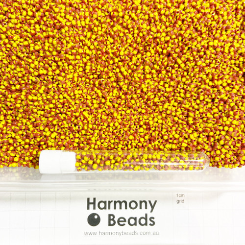 STRIPED Glass Seed Beads 8/0 Red & Yellow Striped