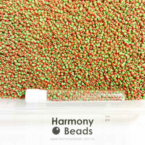 STRIPED Glass Seed Beads 8/0 Red & Green Striped