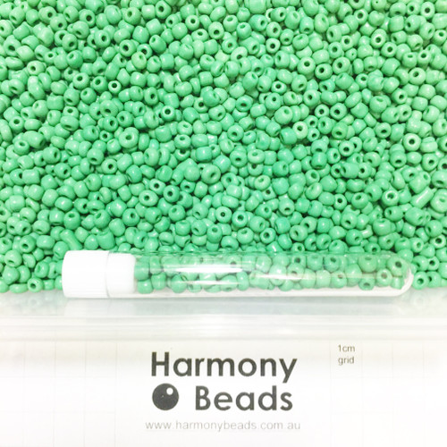 Glass Seed Beads 6/0 GREEN OPAQUE