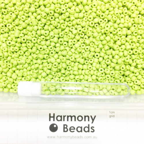 Glass Seed Beads 6/0 YELLOW GREEN OPAQUE