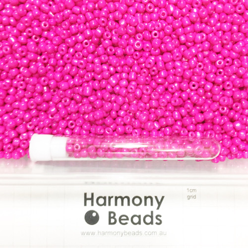 Glass Seed Beads 6/0 CAMELLIA HOT PINK OPAQUE