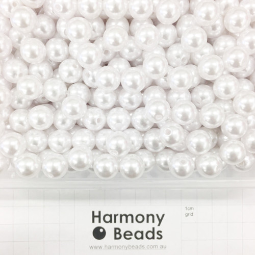 Acrylic Plastic Pearls Round Pearl Beads - 12mm - WHITE