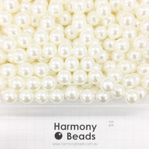 Acrylic Plastic Pearls Round Pearl Beads - 12mm - CREAM