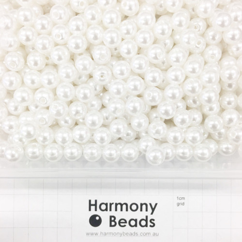 Acrylic Plastic Pearls Round Pearl Beads - 10mm - WHITE