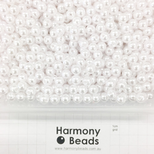 Acrylic Plastic Pearls Round Pearl Beads - 8mm - WHITE