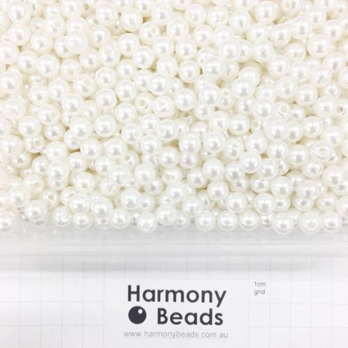 Acrylic Plastic Pearls Round Pearl Beads - 8mm - CREAM