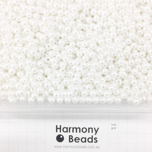 Acrylic Plastic Pearls Round Pearl Beads - 6mm - WHITE