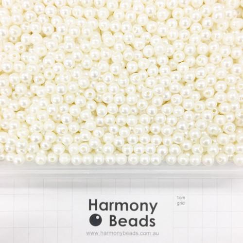 Acrylic Plastic Pearls Round Pearl Beads - 6mm - CREAM