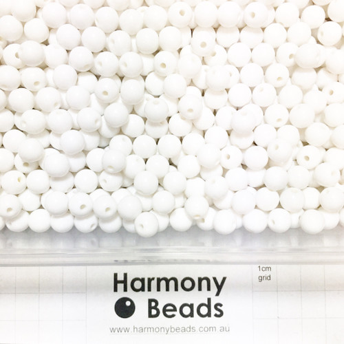 Acrylic Smooth Round Beads - 8mm - WHITE OPAQUE