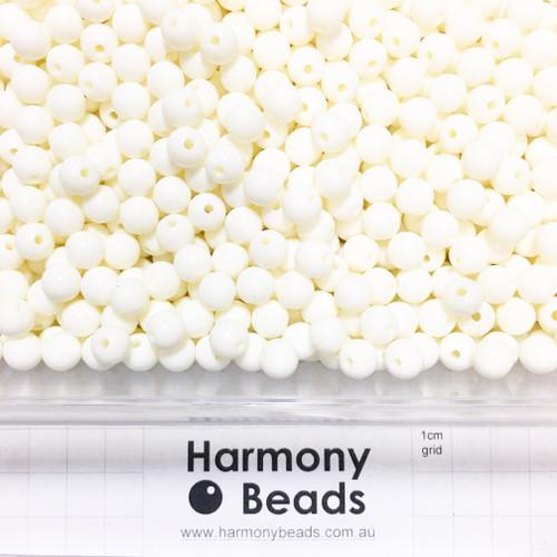 Acrylic Smooth Round Beads - 8mm - CREAM OPAQUE