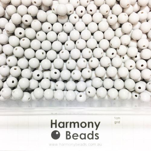 Acrylic Smooth Round Beads - 8mm - LIGHT GREY OPAQUE