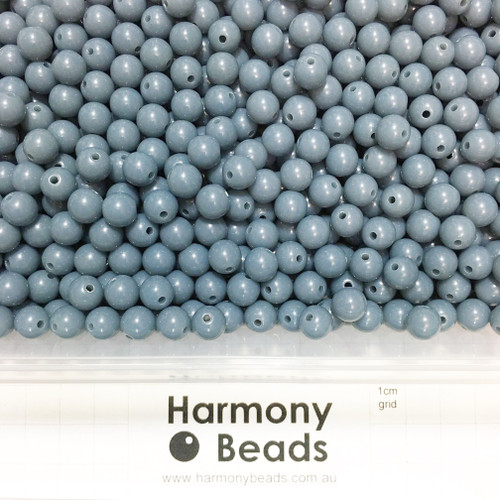 Acrylic Smooth Round Beads - 8mm - SLATE BLUE GREY OPAQUE