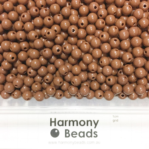 Acrylic Smooth Round Beads - 8mm - BROWN OPAQUE