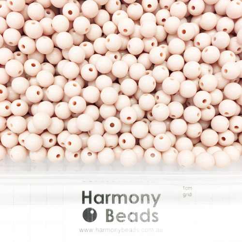 Acrylic Smooth Round Beads - 8mm -  BLUSH BEIGE OPAQUE