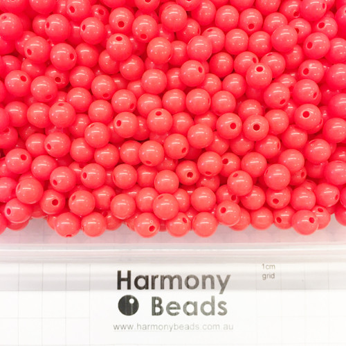 Acrylic Smooth Round Beads - 8mm - NEON RED OPAQUE