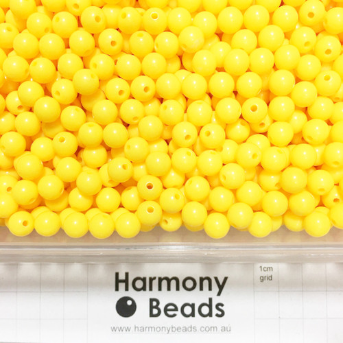 Acrylic Smooth Round Beads - 8mm - WARM YELLOW OPAQUE