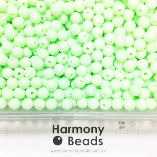 Acrylic Smooth Round Beads - 8mm - MINT GREEN OPAQUE