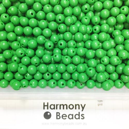 Acrylic Smooth Round Beads - 8mm - DARK GREEN OPAQUE
