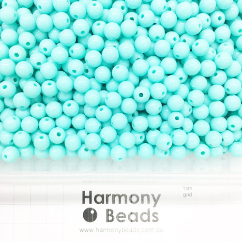 Acrylic Smooth Round Beads - 8mm - TURQUOISE OPAQUE