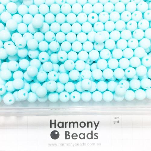Acrylic Smooth Round Beads - 8mm - LIGHT AQUA BLUE OPAQUE