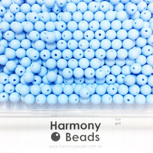 Acrylic Smooth Round Beads - 8mm - PASTEL CORNFLOWER BLUE OPAQUE
