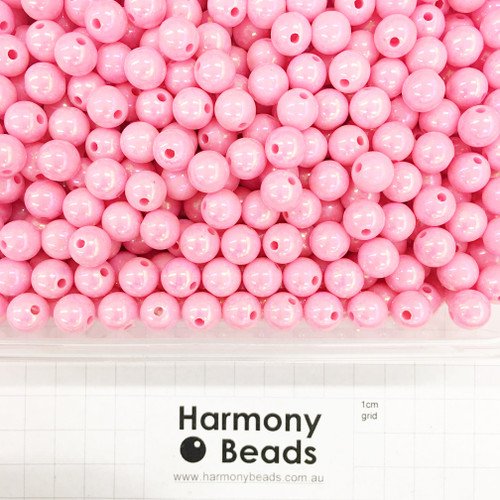 Acrylic Smooth Round Beads - 10mm - NEON PINK OPAQUE AB