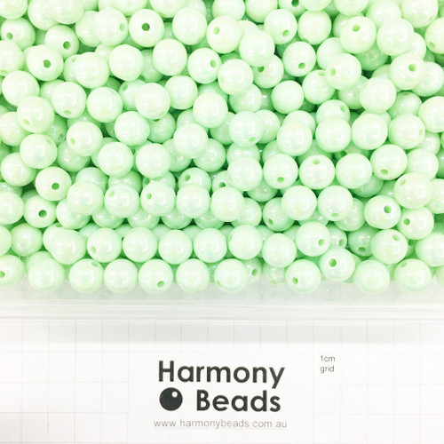 Acrylic Smooth Round Beads - 10mm - PASTEL MINT GREEN OPAQUE AB