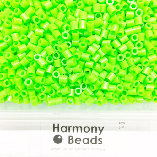 FUZE Beads Iron-Fuse Melty Plastic Tube Beads 5mm OPAQUE NEON GREEN *FLUORESCENT HIGHLIGHTER