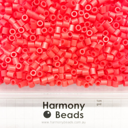 FUZE Beads Iron-Fuse Melty Plastic Tube Beads 5mm OPAQUE NEON RED *HIGHLIGHTER FLUORESCENT