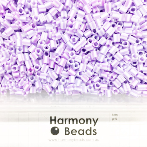 FUZE Beads Iron-Fuse Melty Plastic Tube Beads 5mm STRIPED LIGHT PURPLE AND WHITE