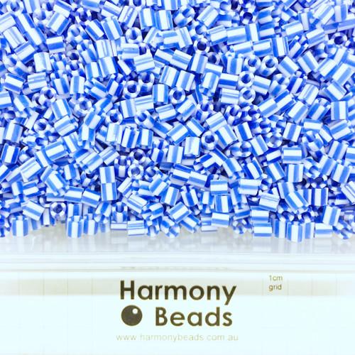FUZE Beads Iron-Fuse Melty Plastic Tube Beads 5mm STRIPED BLUE WHITE