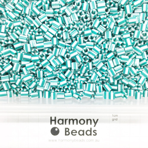 FUZE Beads Iron-Fuse Melty Plastic Tube Beads 5mm STRIPED SEA GREEN AND WHITE