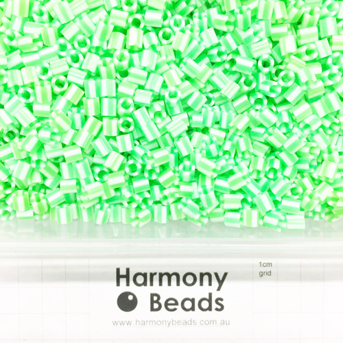 FUZE Beads Iron-Fuse Melty Plastic Tube Beads 5mm STRIPED BRIGHT GREEN AND WHITE