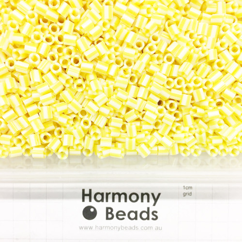 FUZE Beads Iron-Fuse Melty Plastic Tube Beads 5mm STRIPED YELLOW AND WHITE