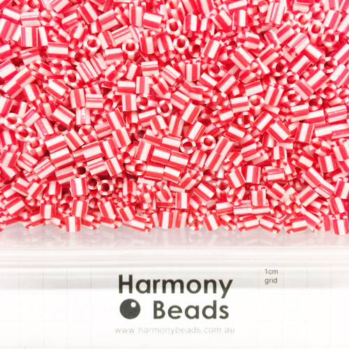 FUZE Beads Iron-Fuse Melty Plastic Tube Beads 5mm STRIPED RED AND WHITE
