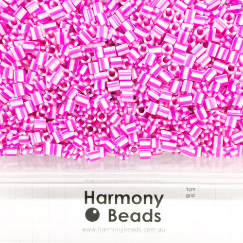 FUZE Beads Iron-Fuse Melty Plastic Tube Beads 5mm STRIPED HOT PINK AND WHITE