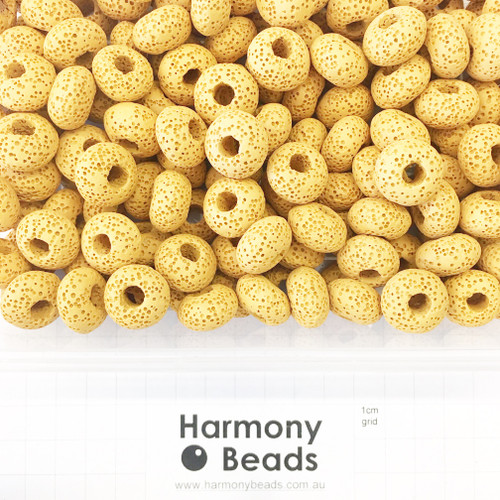 Painted Natural LAVA STONE Large Hole Rondelle Beads in MUSTARD YELLOW