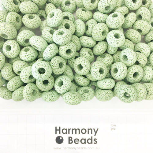 Painted Natural LAVA STONE Large Hole Rondelle Beads in PISTACHIO WASABI GREEN