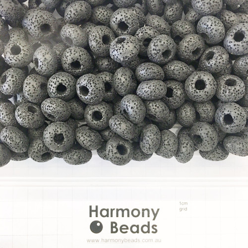 Painted Natural LAVA STONE Large Hole Rondelle Beads in VOLCANIC BLACK