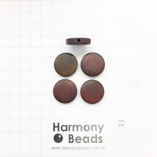 Natural Wooden Beads Flat Round Coin Shaped 4.5x20mm STAINED DARK BROWN