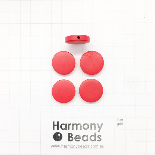 Painted Wooden Beads Flat Round Coin Shaped 4.5x20mm OPAQUE RED