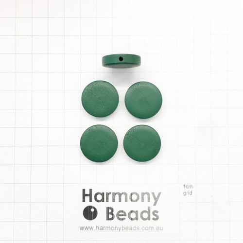 Painted Wooden Beads Flat Round Coin Shaped 4.5x20mm OPAQUE HUNTER GREEN