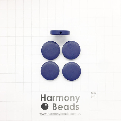 Painted Wooden Beads Flat Round Coin Shaped 4.5x20mm OPAQUE NAVY BLUE