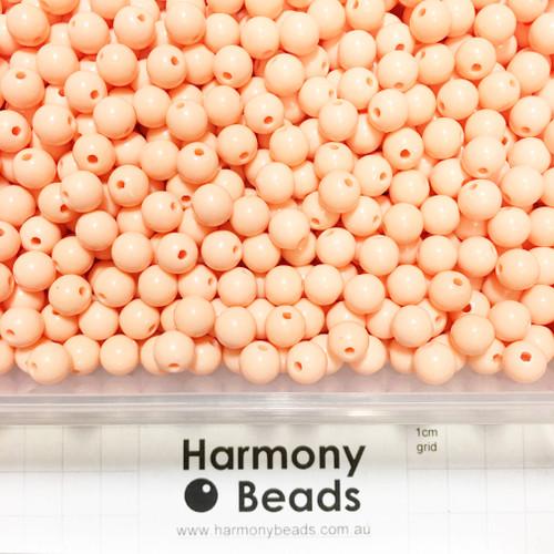 Acrylic Smooth Round Beads - 8mm - LIGHT PEACH PASTEL ORANGE OPAQUE