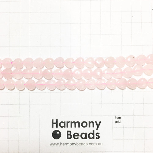 ROSE QUARTZ Heart Shaped Beads, Natural, 9x10mm